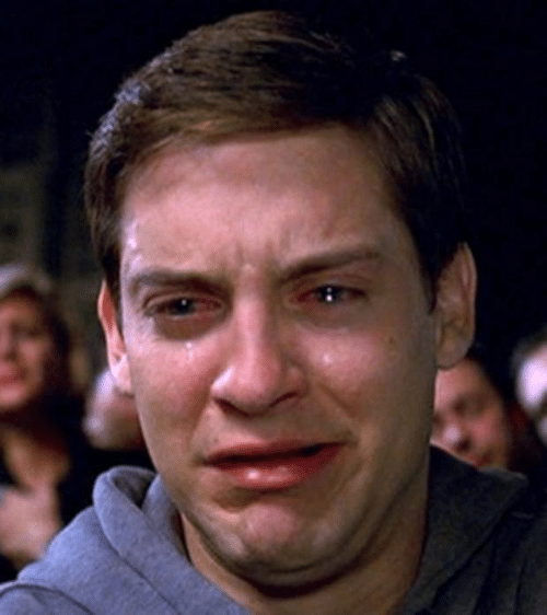 crying peter parker meme template