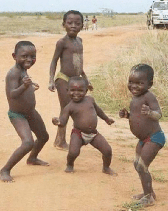 african kids dancing meme template