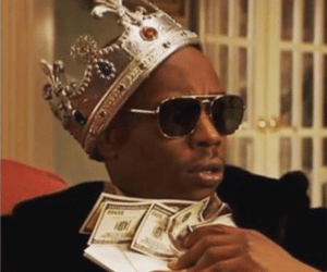 Chappelle with Money and Crown Black Twitter meme template
