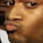 black guy pursed lips meme template