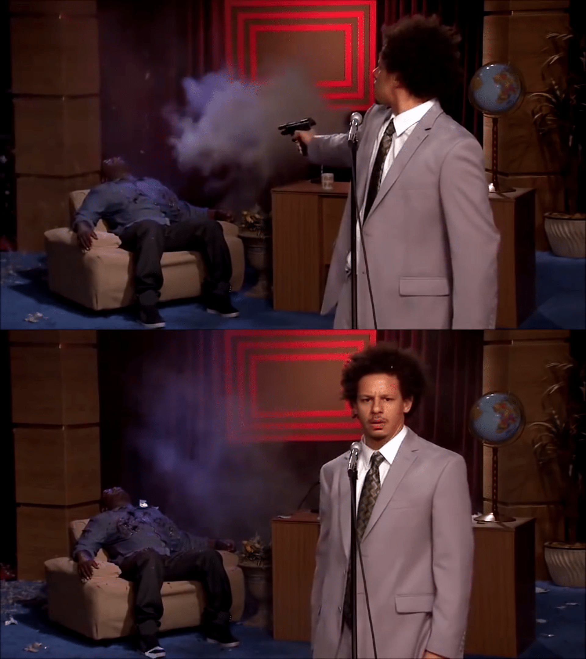 how could he have done this eric andre, a black guy, shoots hannibal meme template blank