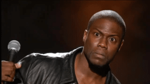 Kevin Hart Shocked / Holding Microphone  Surprised meme template