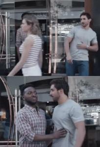 black guy blocking white guy