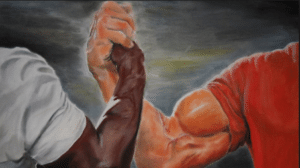 Black Guy and White Guy Shaking Hands / Fists Template Opinion meme template