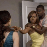 kevin hart scared of white woman meme template