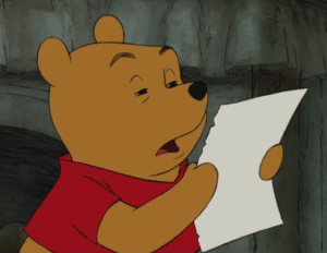 Winnie the Pooh Reading Confused meme template