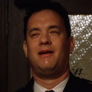 Peeing / Sweating Tom Hanks Eating meme template