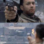 Tom Hanks Shooting Tank Template (blank)  meme template blank