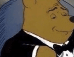 Winnie the Pooh in Tuxedo Drake meme template