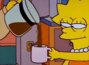 Lisa Simpson Being Poured Coffee Simpsons meme template