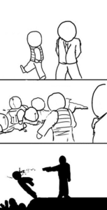 Shooting Person Comic (blank) Subterfuge meme template