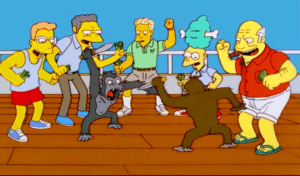 Simpson's Monkey Knife Fight Template (blank) vs meme template