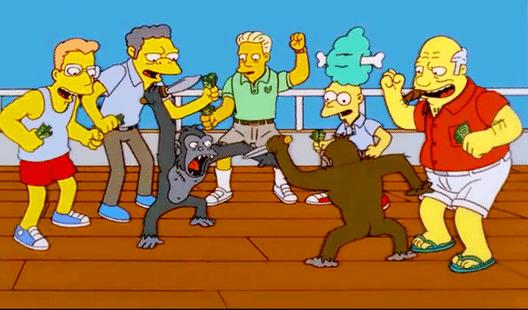 simpsons monkey knife fight meme template blank
