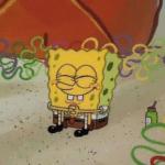 spongebob sitting happy meme template