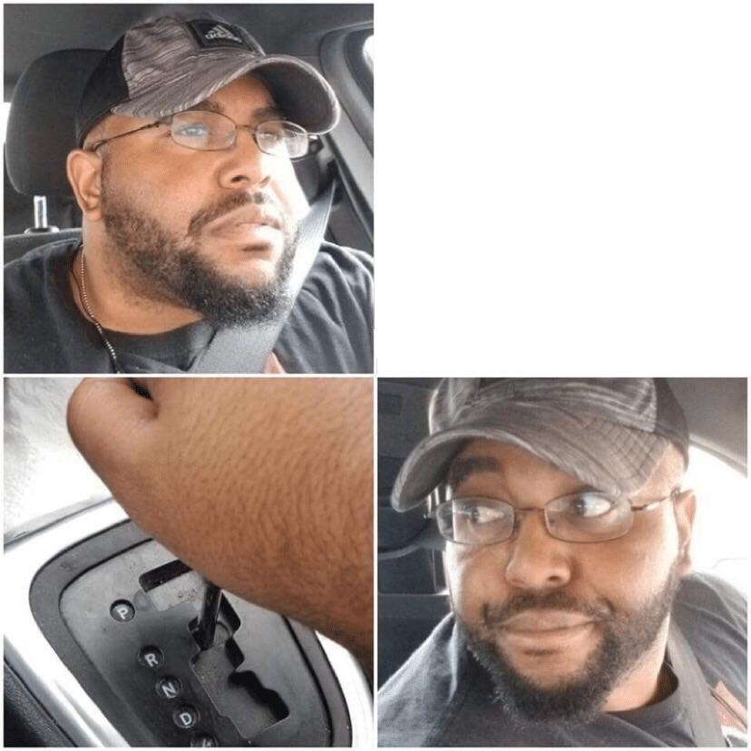 Black guy reversing car Black Twitter meme template blank