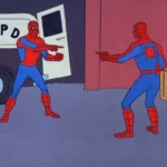 Spiderman Pointing at Self  meme template blank