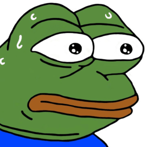 MonkaS / Sweating Pepe Frog meme template
