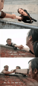 Always Sunny, Frank Pushing Guy Off Roof Always Sunny meme template