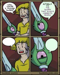 Sword that always corrects people comic (blank) Sword meme template