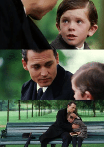 Crying Kid + Johnny Depp Hugging meme template