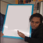 black guy pointing to sign meme temaplate blank holding