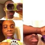 Black Kid Looking Through Goggles (blank) Black Twitter meme template blank