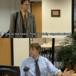 Dwight/Jim This is not funny, totally unprofessional The Office meme template