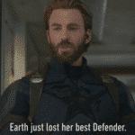 Captain America 'Earth just lost her best defender'  meme template blank