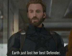 Captain America 'Earth just lost her best defender' Avengers meme template