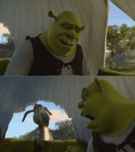 Shrek Yelling at Donkey Screaming meme template