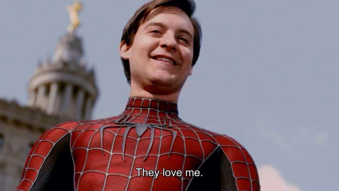 "Spiderman ""They love me"" Spiderman meme template blank"