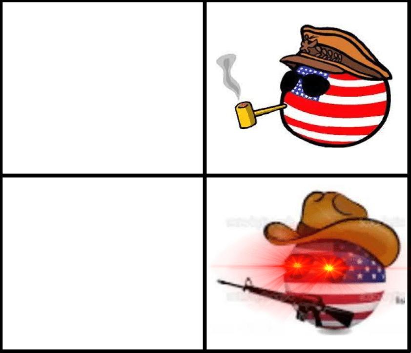 America Ball with gun Drake blank meme template