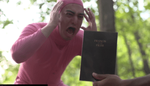 Filthy Frank Screaming at Book Screaming meme template