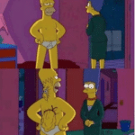Homer pretending to be Skinny in front of Marge Simpsons meme template