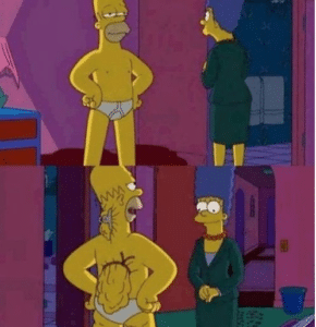Homer pretending to be Skinny in front of Marge Subterfuge meme template
