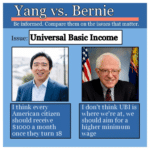 political meme generator two candidates on the issues bernie sanders vs. andrew yang on universal basic income