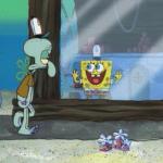 Spongebob Sees Squidward Spongebob meme template blank