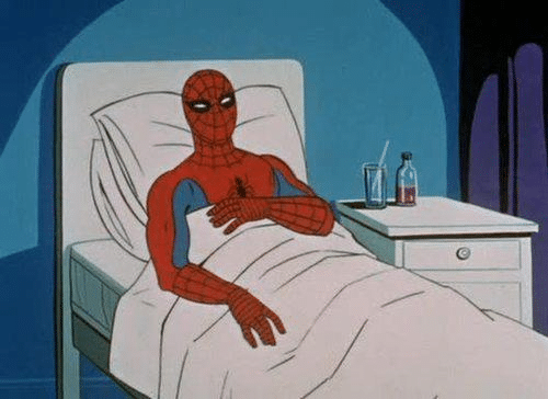 spiderman sick in hospital bed meme template