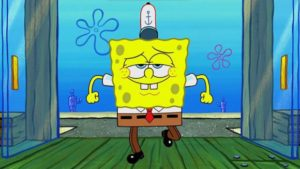 Spongebob Confidently Walking Through Doors Walking meme template