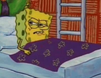 spongebob in bed angry meme template