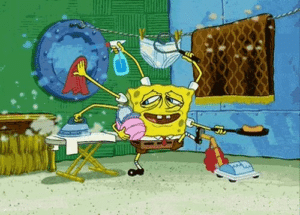 Spongebob Multitasking Chores Asking meme template