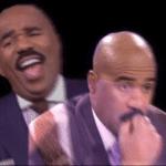 Steve Harvey Thinking Laughing Black Twitter meme template blank