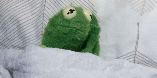Kermit Awake in Bed / Anxiety  meme template blank