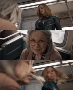 Brie Larson / Captain Marvel Punching Old Woman Avengers meme template