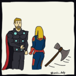 Thor Summoning Axe against Captain Marvel comic (blank)  meme template blank Marvel Avengers
