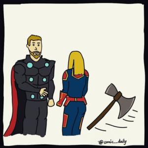 Thor Summoning Axe against Captain Marvel comic (blank) Avengers meme template
