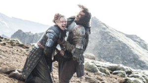 The Hound Fighting Brienne Game of Thrones meme template