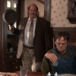 Kevin hitting Dwight from behind with pan  meme template blank sneak, unexpected, fight, banging