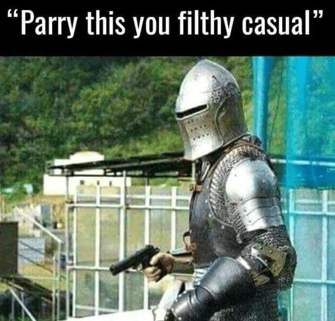 Crusader / Knight 'Parry this you filthy casual'  meme template blank