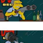 Moe Shotgun Backfire Simpsons meme template blank Gun, reverse, unexpected, shotgun